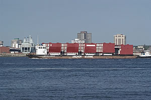 Carrier modules leaving the Mersey
